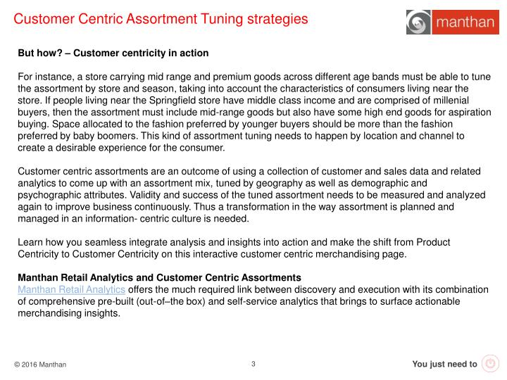 Customer Centric Assortment Tuning strategies