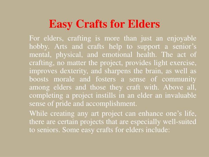 Easy Crafts for Elders