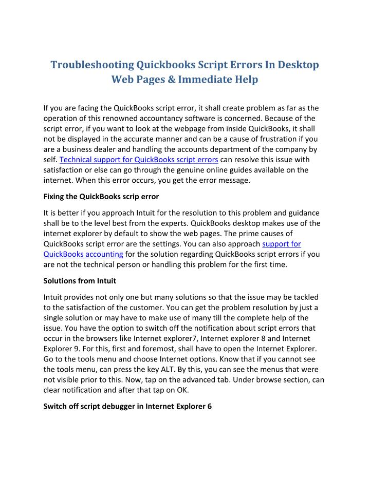 Troubleshooting Quickbooks Script Errors In Desktop