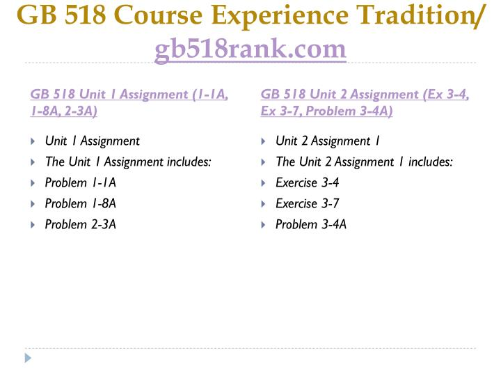 Gb 518 course experience tradition gb518rank com1