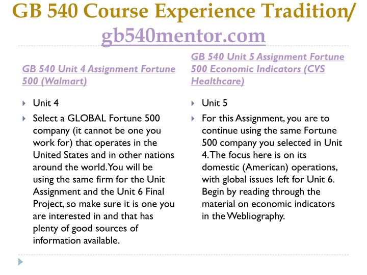 GB 540 Course