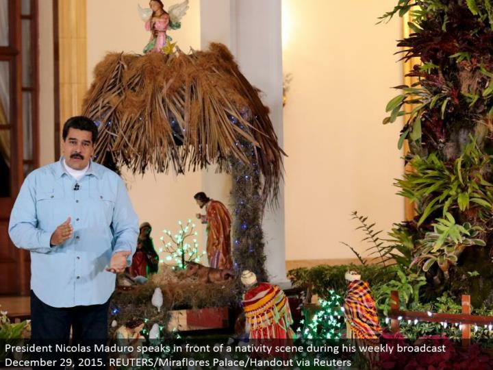 President Nicolas Maduro talks before a nativity scene amid his week after week communicate December 29, 2015. REUTERS/Miraflores Palace/Handout by means of Reuters
