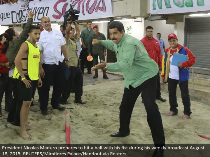President Nicolas Maduro plans to hit a ball with his clench hand amid his week by week communicate August 18, 2015. REUTERS/Miraflores Palace/Handout by means of Reuters