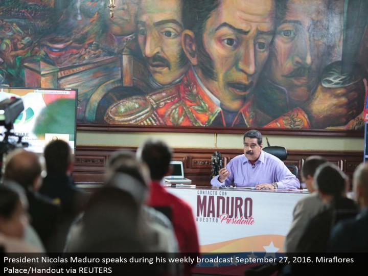 President Nicolas Maduro talks amid his week by week communicate September 27, 2016. Miraflores Palace/Handout by means of REUTERS