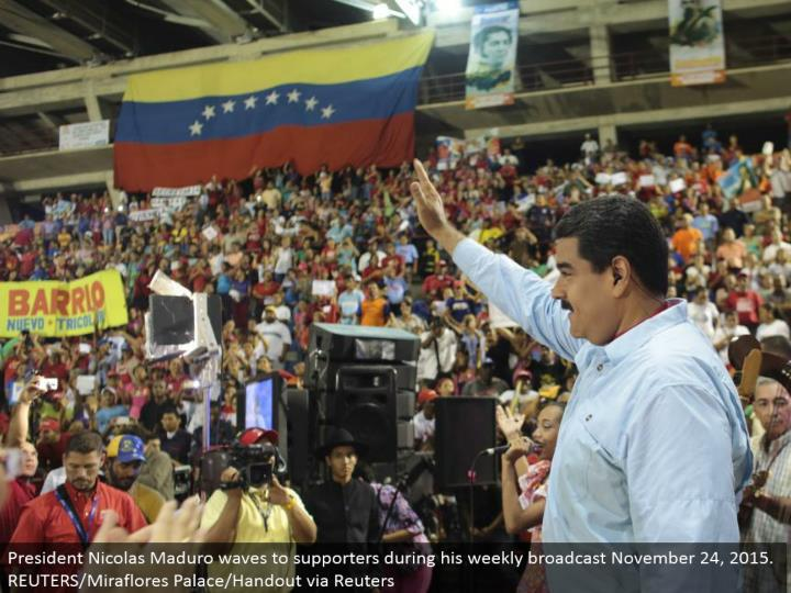 President Nicolas Maduro waves to supporters amid his week by week communicate November 24, 2015. REUTERS/Miraflores Palace/Handout by means of Reuters