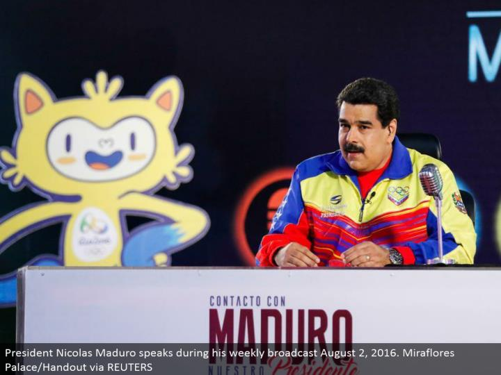 President Nicolas Maduro talks amid his week by week communicate August 2, 2016. Miraflores Palace/Handout through REUTERS