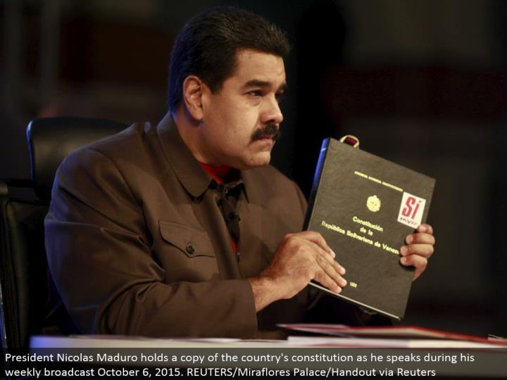 President Nicolas Maduro holds a duplicate of the nation's constitution as he talks amid his week after week communicate October 6, 2015. REUTERS/Miraflores Palace/Handout by means of Reuters