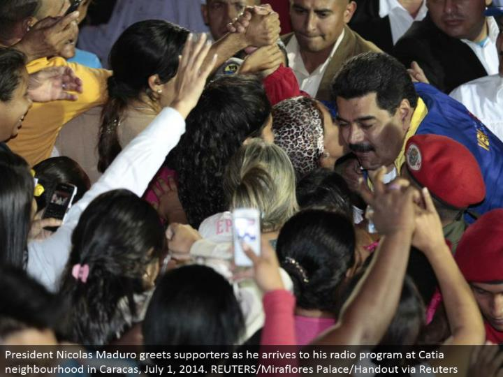 President Nicolas Maduro welcomes supporters as he touches base to his radio program at Catia neighborhood in Caracas, July 1, 2014. REUTERS/Miraflores Palace/Handout by means of Reuters