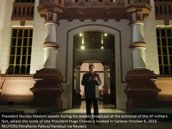 President Nicolas Maduro talks amid his week by week communicate at the passageway of the 4F military fortification, where the tomb recently President Hugo Chavez is situated in Caracas October 6, 2015. REUTERS/Miraflores Palace/Handout through Reuters