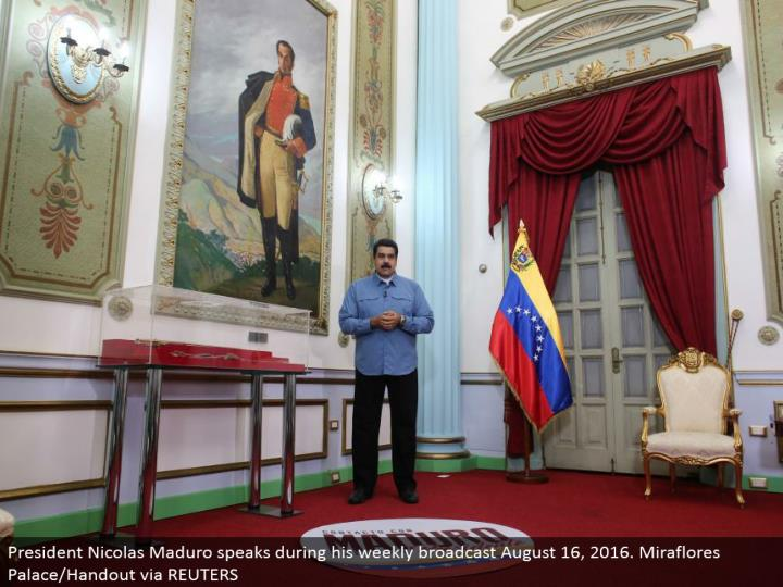 President Nicolas Maduro talks amid his week by week communicate August 16, 2016. Miraflores Palace/Handout through REUTERS