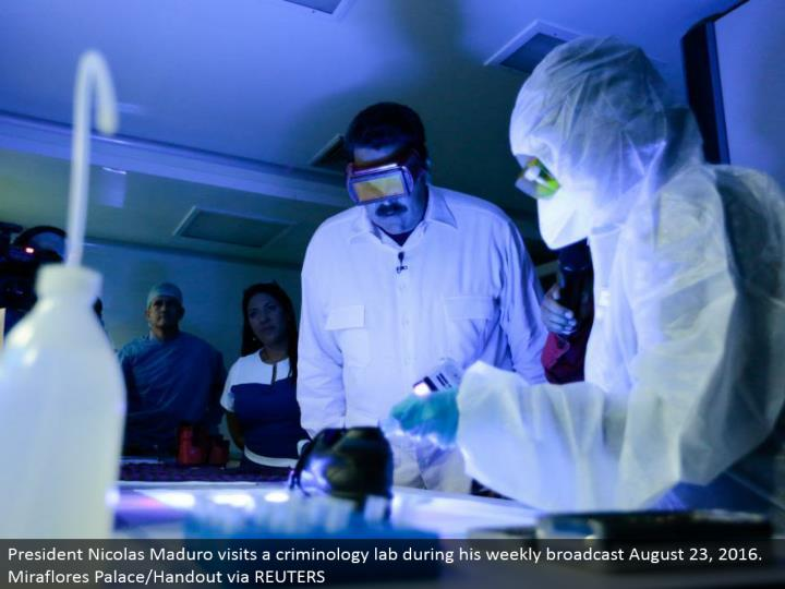 President Nicolas Maduro visits a criminology lab amid his week by week communicate August 23, 2016. Miraflores Palace/Handout through REUTERS