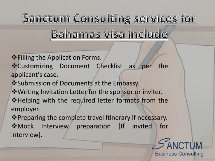 Sanctum Consulting services for Bahamas visa include