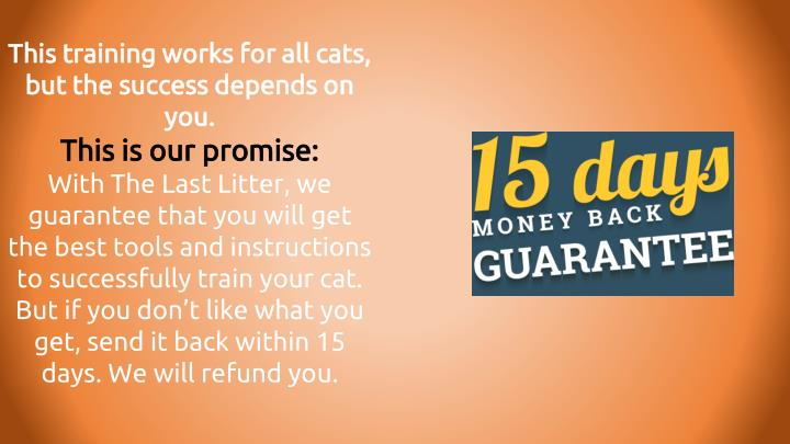 This training works for all cats, but the success depends on you.