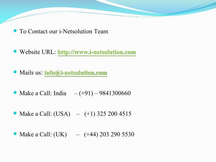 To Contact our i-Netsolution Team