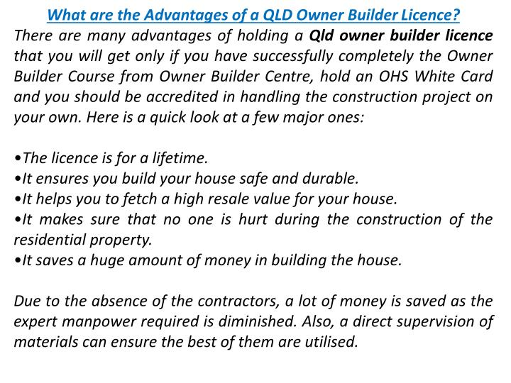 What are the Advantages of a QLD Owner Builder