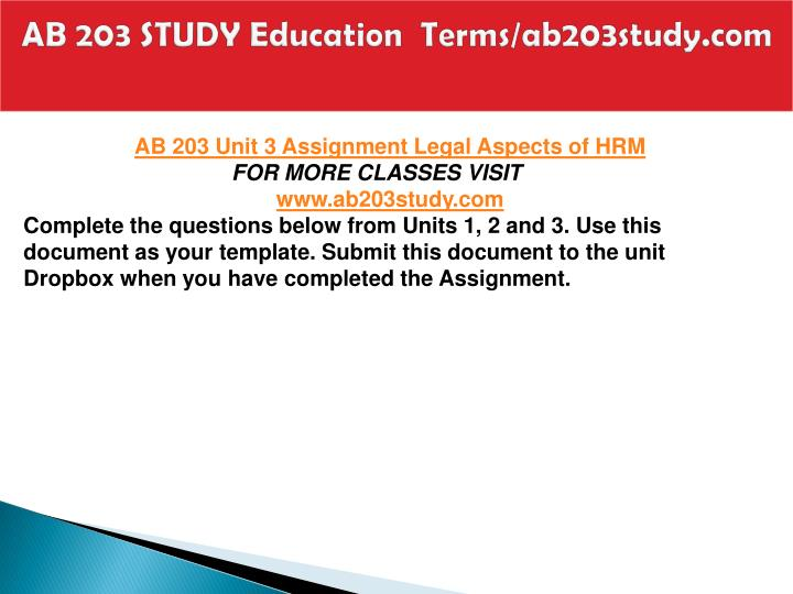 AB 203 STUDY Education  Terms/ab203study.com