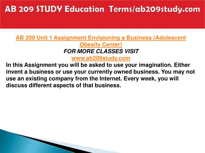 Ab 209 study education terms ab209study com1