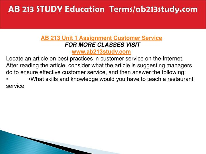 Ab 213 study education terms ab213study com1
