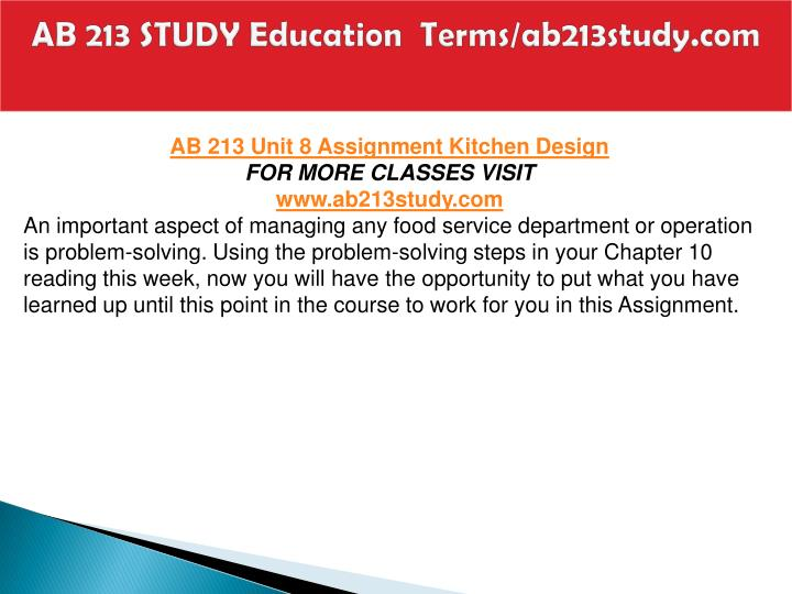 AB 213 STUDY Education  Terms/ab213study.com