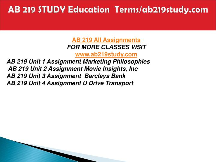Ab 219 study education terms ab219study com1