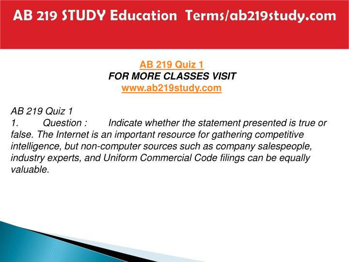 Ab 219 study education terms ab219study com2