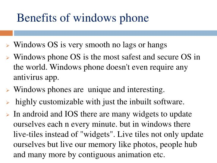 Benefits of windows phone