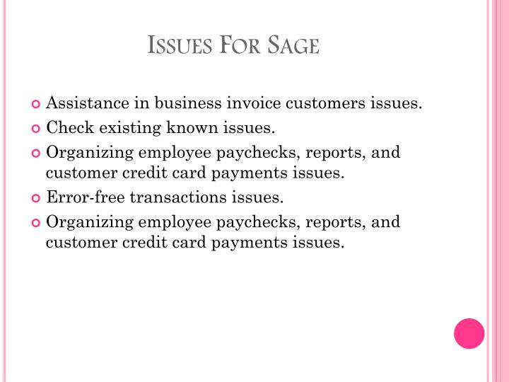 Issues for sage