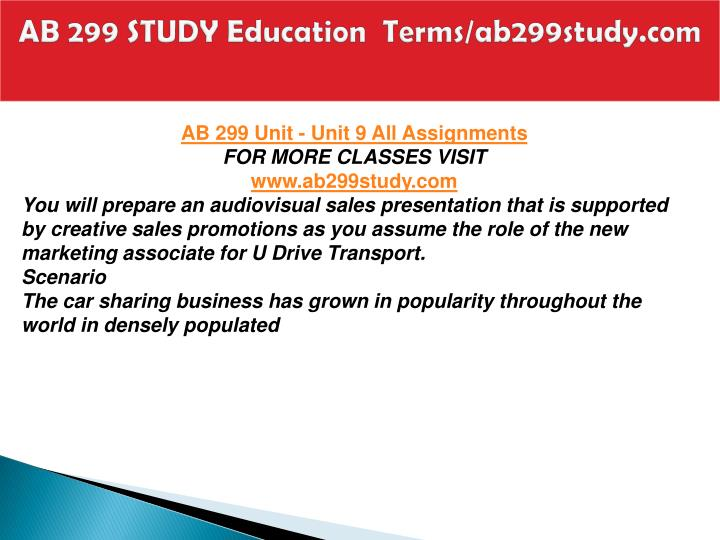 AB 299 STUDY Education  Terms/ab299study.com