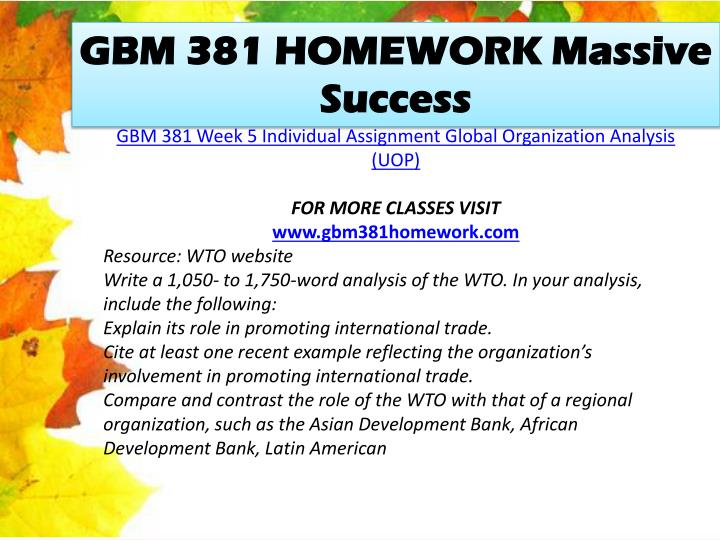 GBM 381 HOMEWORK Massive Success