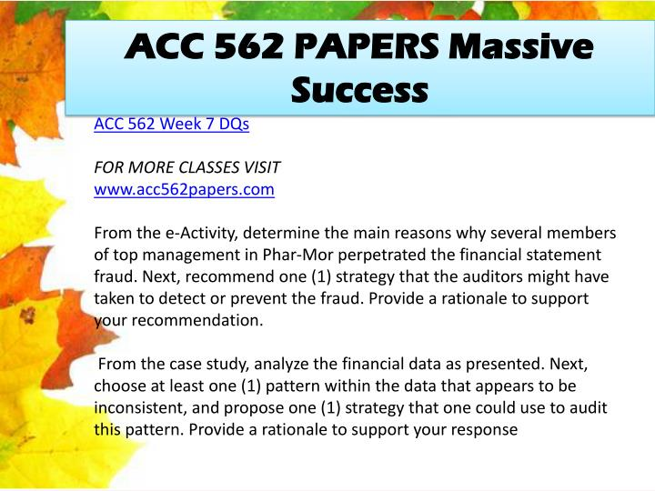 ACC 562 PAPERS Massive Success