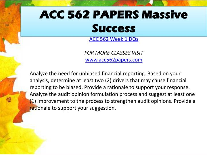 ACC 562 PAPERS Massive Success