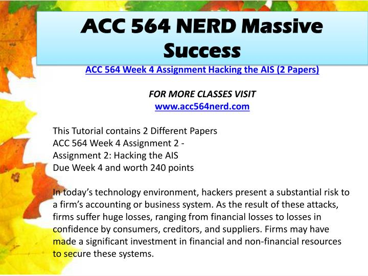 ACC 564 NERD Massive Success