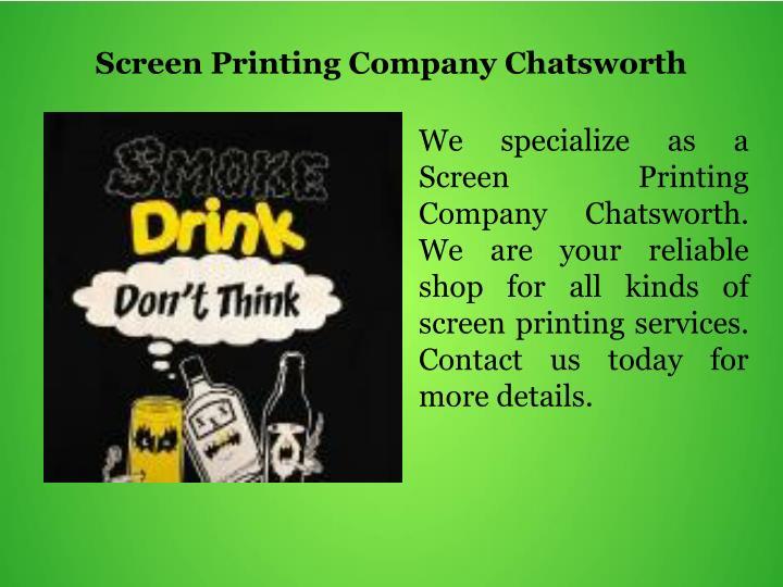 Screen Printing Company Chatsworth