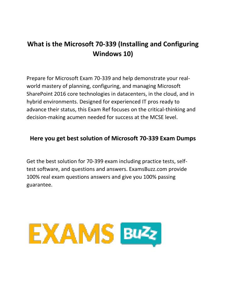 What is the Microsoft 70-339 (Installing and Configuring