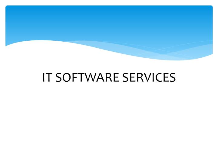 IT SOFTWARE SERVICES
