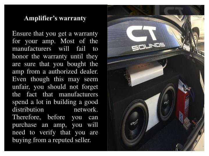 Amplifier's warranty