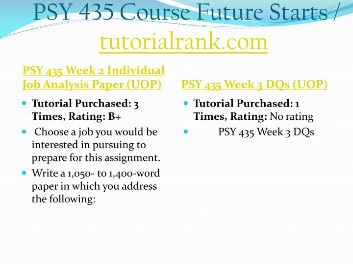 PSY 435 Course Future Starts /