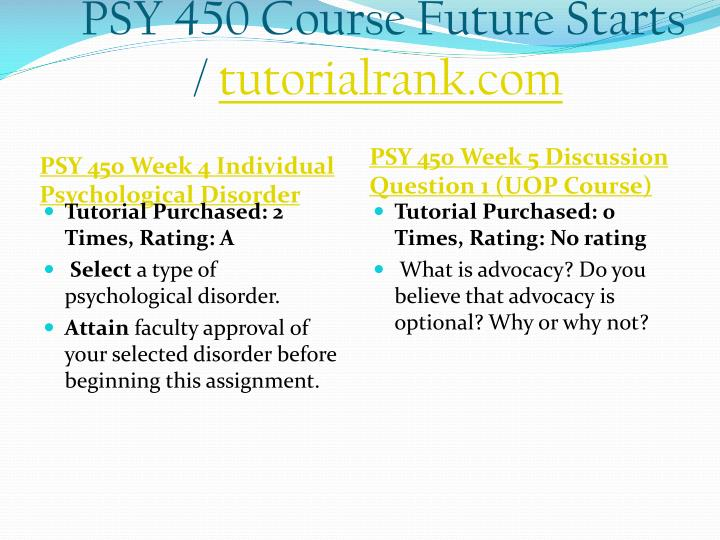 PSY 450 Course Future Starts /