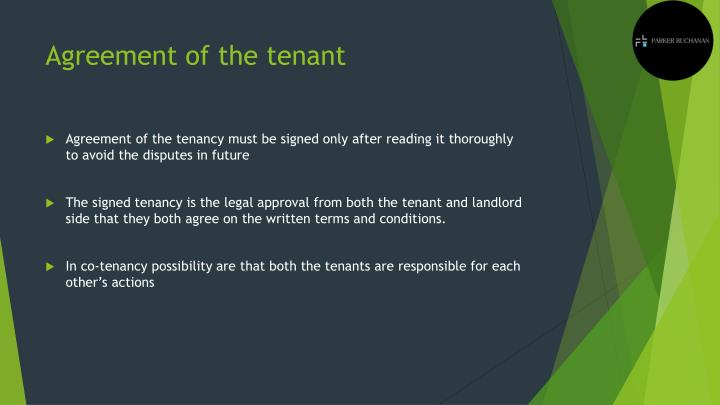 Agreement of the tenant