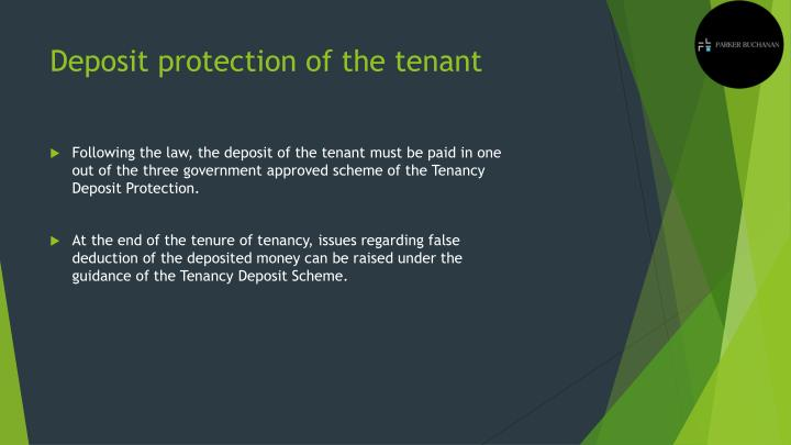 Deposit protection of the tenant