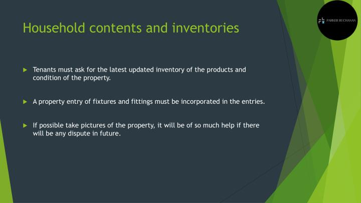 Household contents and inventories