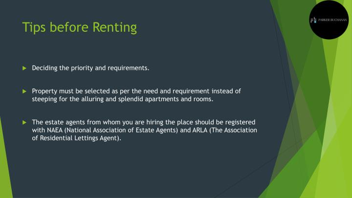 Tips before Renting