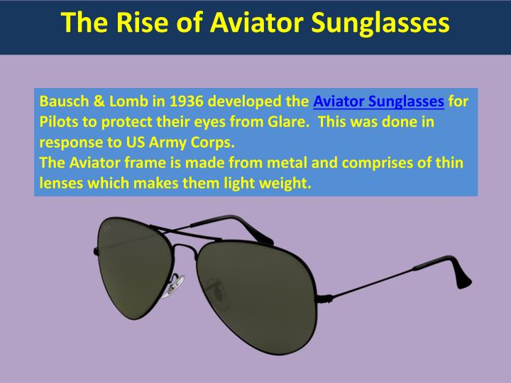 The rise of aviator sunglasses