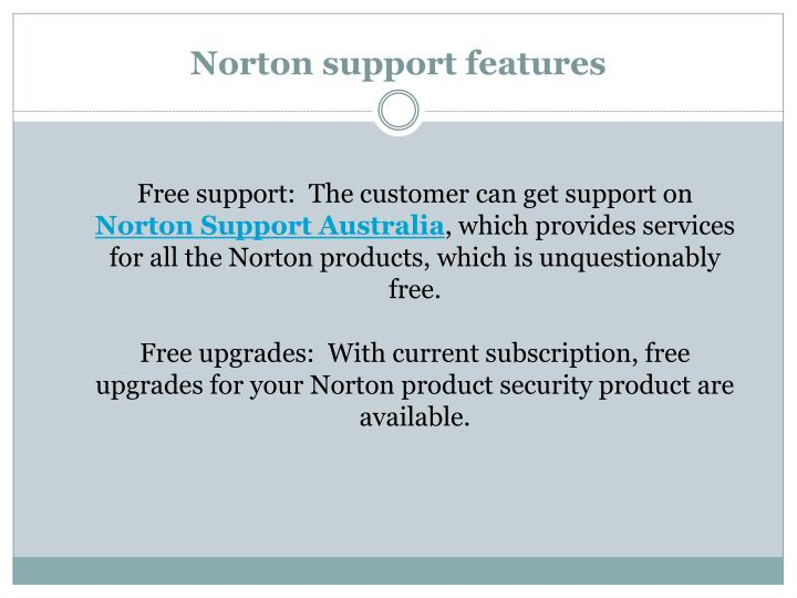 Norton support features