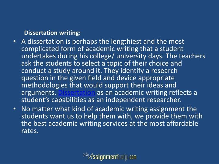 Dissertation writing: