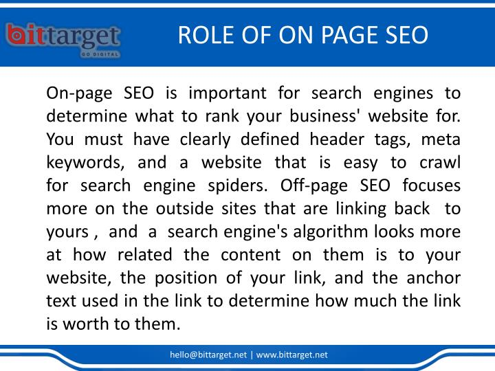 ROLE OF ON PAGE SEO