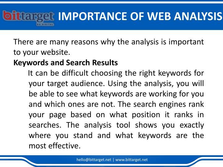 IMPORTANCE OF WEB ANALYSIS
