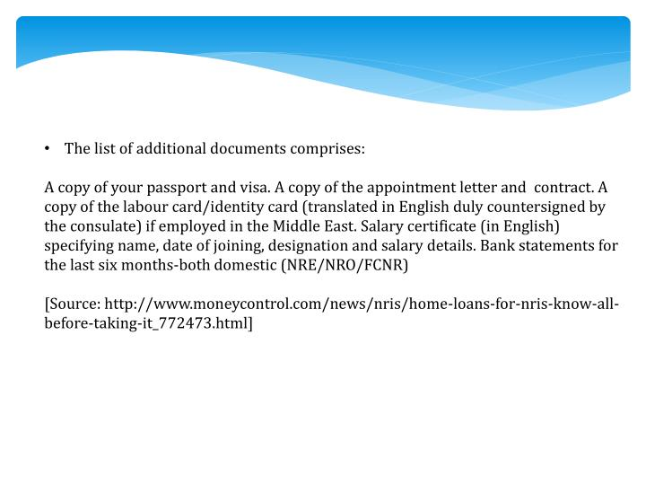 The list of additional documents comprises: