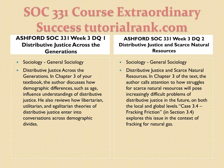 ASHFORD SOC 331 Week 3 DQ 1 Distributive Justice Across the Generations