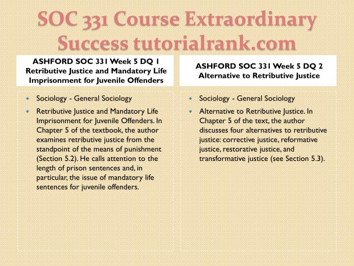 ASHFORD SOC 331 Week 5 DQ 1 Retributive Justice and Mandatory Life Imprisonment for Juvenile Offenders